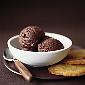 Chocolate ice cream in white bowl, biscuits beside it