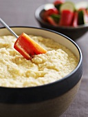Raw vegetables with cauliflower cheese dip