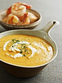 Sweet potato soup with shrimps