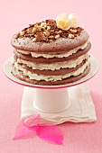 Chocolate meringue gateau with whipped cream filling