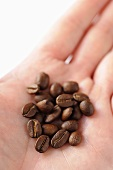 Coffee beans on someone's hand