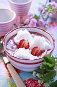 Strawberry soup with egg white dumplings