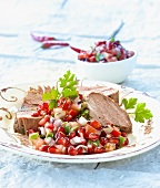 Lamb with pomegranate salsa