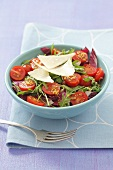 Radicchio, rocket and cherry tomato salad with Parmesan