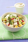 Cucumber, radish and egg salad with dill and sour cream