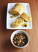 Crêpes filled with spicy peanut chutney (India)