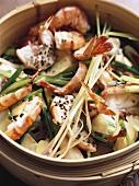 Tom su cua hap (Steamed shrimps with coriander, Vietnam)