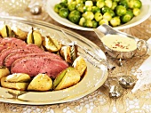 Roast beef with potatoes and Brussels sprouts (Christmas)