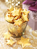 Star biscuits with gold dragees for Christmas