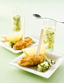 Small breaded escalopes with cucumber relish
