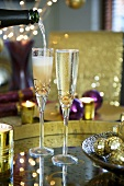 Two glasses of champagne cocktail (Christmas)