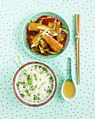 Fish fingers with rice and peas (China)
