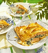 Salmon, spinach and ricotta in puff pastry