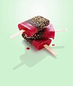 Chocolate-coated fruit ice lollies