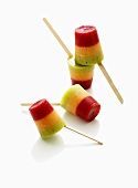 Colourful striped ice lollies
