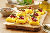 Polenta with smoked sheep's cheese and cranberry jam