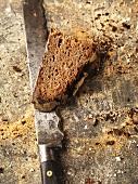 Slice of bread on knife