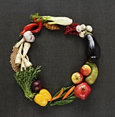 Letter 'O' in vegetables, fruit, mushrooms and cereals