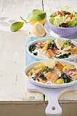 Salmon and spinach bake