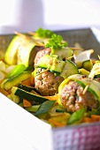 Meatballs with courgettes and carrots