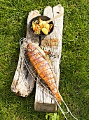 Barbecued red mullet with olive gnocchi