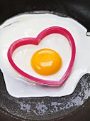 Fried egg with heart-shaped cutter