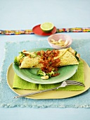 Wrap with broccoli and tomato salsa (Mexico)