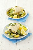 Halibut and courgette rolls with potato salad