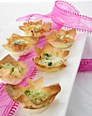 Gorgonzola and fennel in filo pastry shells