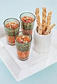 Gazpacho with cheese straws