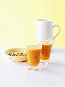 Passionfruit and papaya juice with muesli