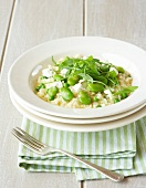Risotto with broad beans, peas and goat's cheese