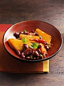 Red kidney beans with fried pumpkin slices