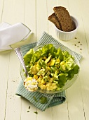 Mango and avocado salad with egg