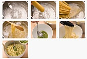 Linguine with pesto being prepared