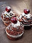 Three Black Forest cherry cupcakes