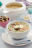Zurek with quail's egg (Polish Easter soup)