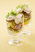 Egg, gherkin and onion salad with yoghurt dressing