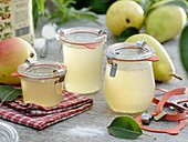 Pear jelly and fresh pears