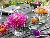 Dahlienblüten und Schwimmkerze in viereckigen Gläsern