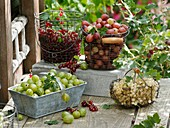 Baskets of red- and white currants and gooseberries