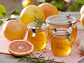 Pink grapefruit jelly with rosemary