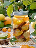 Bottled citrus fruit with cinnamon sticks and star anise