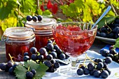 Red grape jelly and fresh red grapes