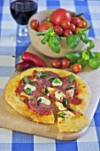 Salami and chilli pizza