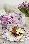 Bacon and scrambled egg on toast for Mother's Day