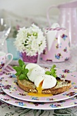 Poached eggs on toast for Mother's Day