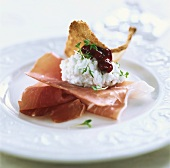 Cottage cheese with ham and cranberries