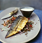 Smoked mackerel on lentil salad