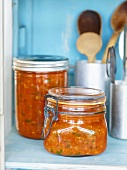 Homemade tomato sauce in preserving jars